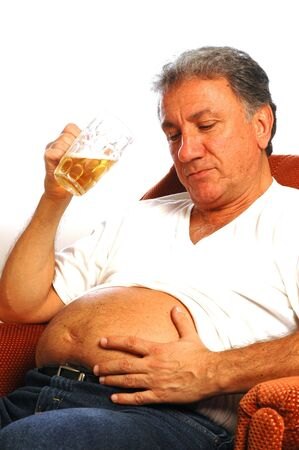 drinker: happy man with a beer belly