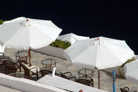 cafe with scenic overlook in the greek islands santorini Stock Photo - 537953
