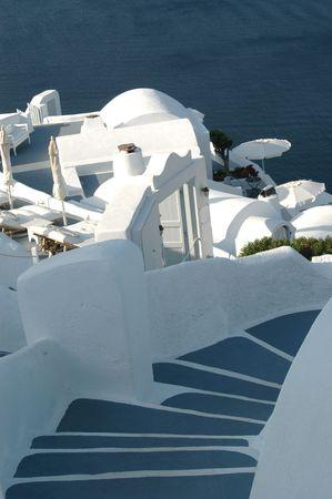 cliffside hotels and villas in oia santorini greece islands Stock Photo - 539849