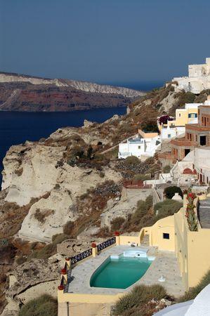 cliffside hotels and villas in oia santorini greece islands Stock Photo - 537629