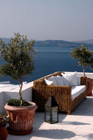 santorini greece: cliffside hotels and villas in oia santorini greece islands Stock Photo