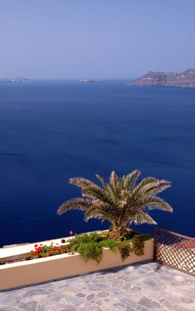 scenic overlook in oia santorini greece islands photo