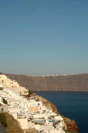 cliffside hotels and villas in oia santorini greece islands Stock Photo - 537606