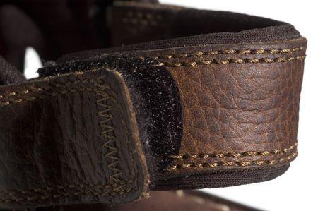 heel strap: brown quality sandals detail velcro adjustable heel strap