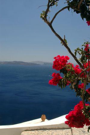 greek island scene vase over the sea santorini photo