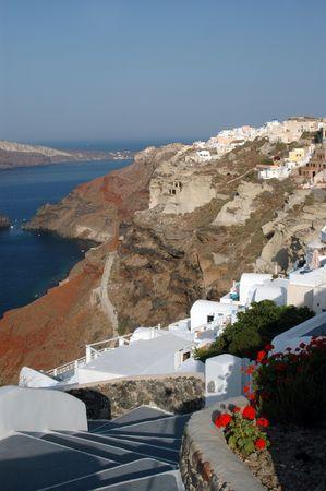 greek island scene walkway to hotel santorini incredible Stock Photo - 539765