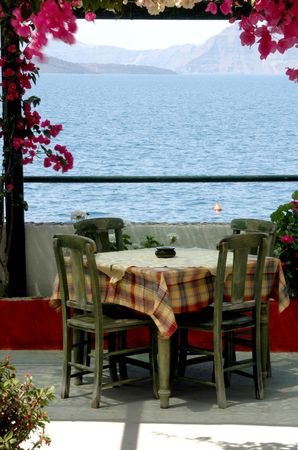 greek island taverna setting by the sea