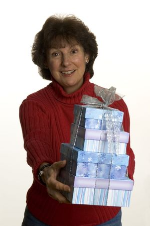 happy woman with gift smiling middle age