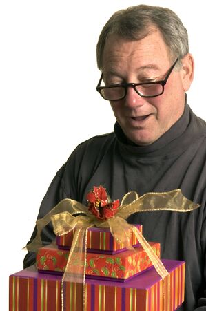 hanukah: excited man with christmas hanukah gifts