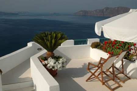 greek island patio with incredible view santorini greece Stock Photo - 588411