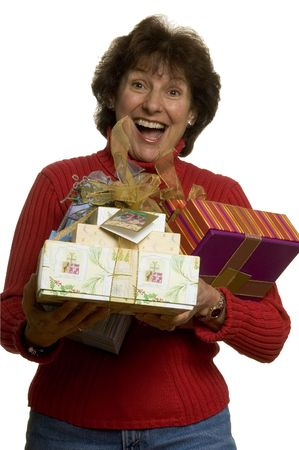 happy smiling excited middle age woman with gifts photo