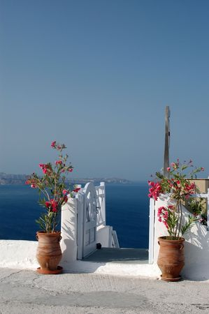 incredible: greek islands flowers by staircase over sea incredible view