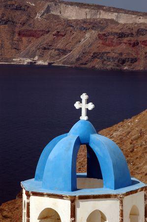 greek island church and monastery  by sea aegean famous santorini Stock Photo - 632534