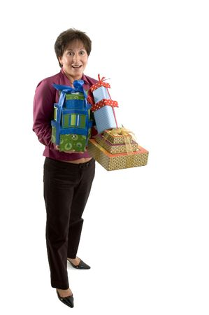 woman with wrapped boxes presents smiling happy