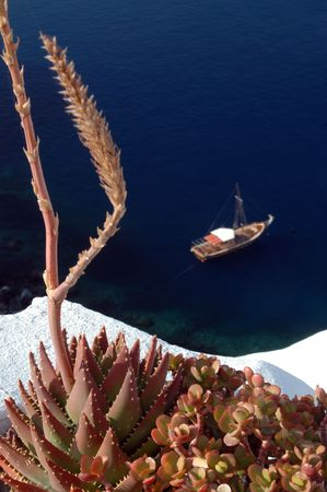 incrdible santorini greek island view with boat soft and cactus sharp Imagens