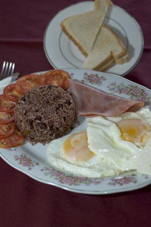 nicaraguan: nicaraguan central america breakfast rice beans ham eggs