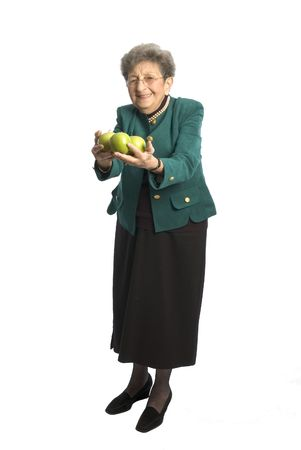attractive senior woman business executive with pearls apple photo