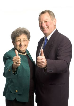 male and female executive team corporate son mother with thumbs up! photo