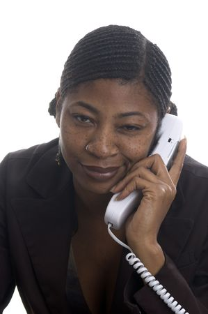 beautiful black woman customer service on telephone with attitude photo