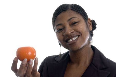 nosering: beautiful black woman with fresh fruit tangerine