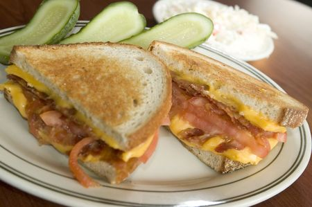 cole: grilled cheese sandwich with pickles cole slaw