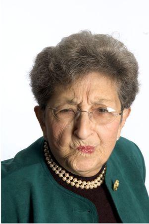 cranky: senior business woman pretty attractive with attitude