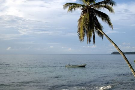 caribbean scene boat in sea with one lone palm tree nicaragua Stock Photo - 681668