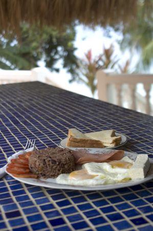 nicaraguan: nicaraguan central america breakfast rice beans ham eggs by the caribbean sea