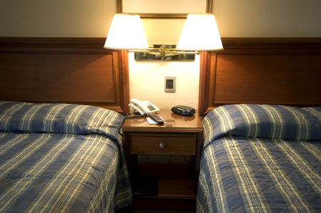 hotel suite guatemala city twin beds lamp reading modern Stock Photo - 681676