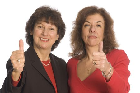 thumbs up for female business partnership happy and successful