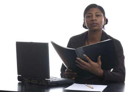 nosering: beautiful black woman executive working in  office management