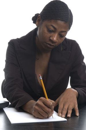 nosering: beautiful black woman executive working in office
