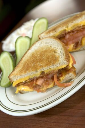 cole: grilled cheese bacon tomato sandwich rye bread pickles cole slaw