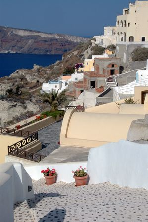 greek islands santorini hotels and villas over the sea Stock Photo - 681506