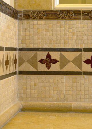 detail custom tile work bathroom backsplash wall