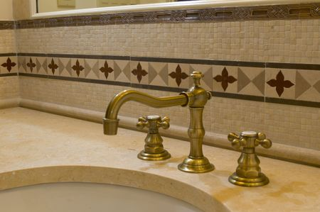 bathroom faucet: detail custom tile work bathroom faucet wall hot cold control handles