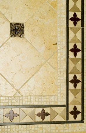 inset: detail custom tile work bathroom backsplash wall