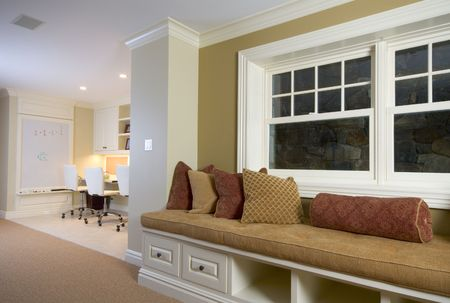 custom built in bench and childrens computer play area with window details mansion residence
