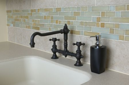 detail custom tile work bathroom faucet wall hot cold control handles shower brass