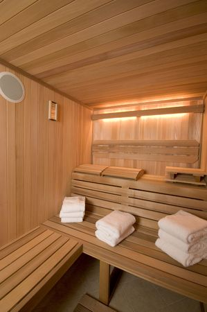 custom built: custom built sauna in mansion woodwork detail