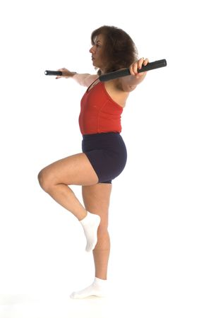 woman exercising with dumbells fitness instructor photo