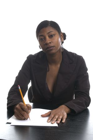 nosering: female executive black woman working at desk