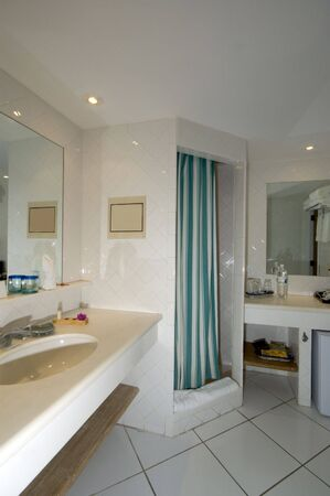 bathroom  and shower detail at luxury resort and spa photo