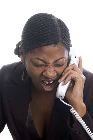 shout: angry woman black on telephone