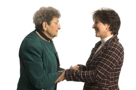 giver: socios del ejecutivo senior o donante del cuidado y mujer madura Foto de archivo