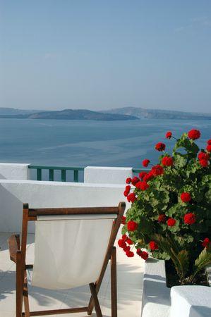 scenic view patio with plant incredible greek islands santorini photo