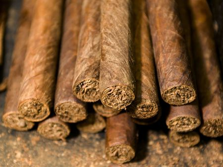 handmade freshly rolled cigars dominican republic tobacco Stock Photo