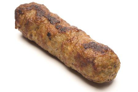 saucisson cuit un lien à faible teneur en gras de porc et de dinde Banque d'images
