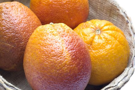 blood oranges citrus fruit in wicker basket group fresh