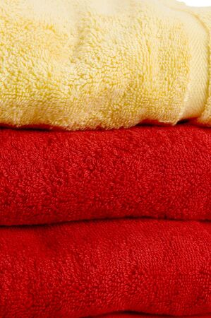 red and yellow towels bath size 100% fine egyptian cotton Stock Photo - 759037